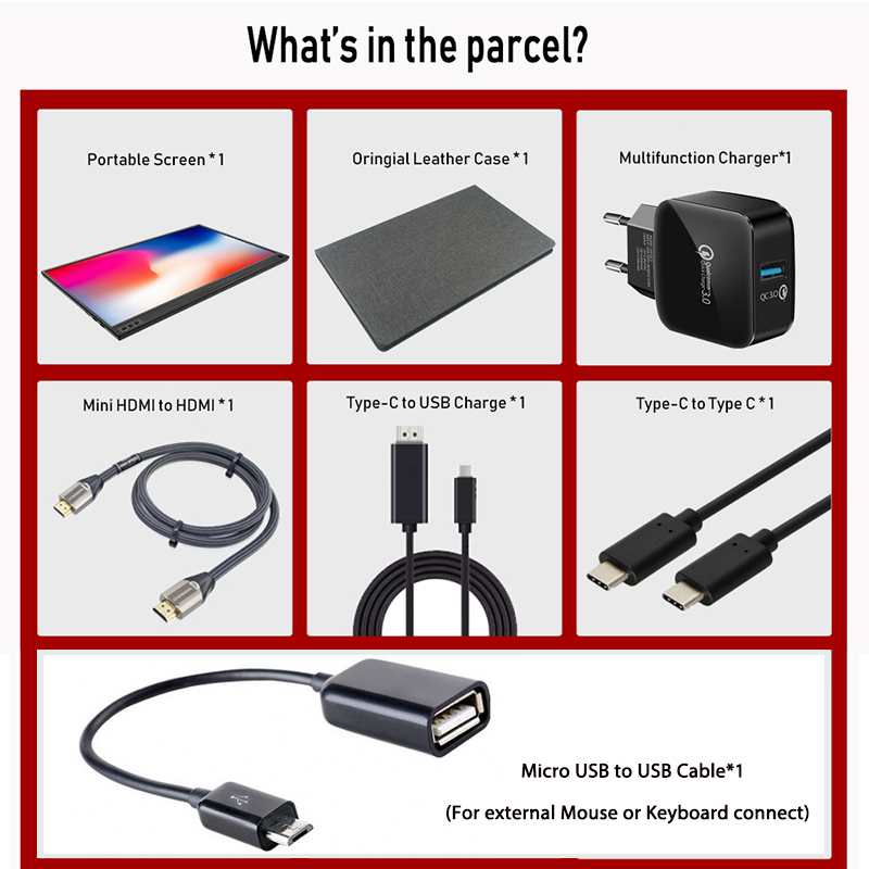 ZEUSLAP dünne tragbare lcd hd monitor 15,6 usb typ c hdmi für laptop, telefon, xbox, schalter und ps4 tragbare lcd gaming monitor - 5
