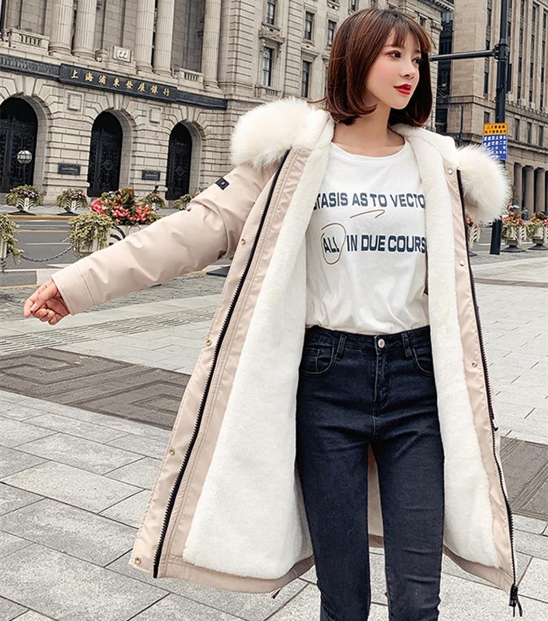 Fashion Autumn Warm Winter Jackets Women Fur Collar Long   Parka   Plus Size Lapel Casual Cotton Womens Outwear Park Plus Size XXL