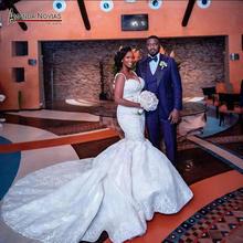 Fashion african mermaid wedding dress with full beading custom order for brides