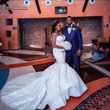 Thời trang Châu Phi Nàng Tiên Cá váy cưới với đầy đủ Chiếu Trúc Hạt tùy chỉnh để cho cô dâu