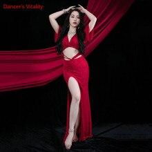 Practice-Clothes Belly-Dance-Dress Long-Skirt Sequins Split-Performance Elegant Short-Sleeve