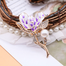 Free Shipping Purple Flower Brooch Enamel Alloy Decoration For Female Girls Cute