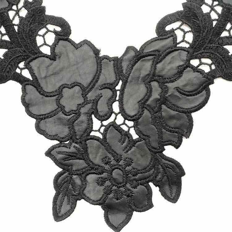 2019 Nero di Modo di Rosa Fiori Del Merletto Del Ricamo Tessuto da Cucire Panno Toppe e Stemmi Artigianato FAI DA TE Abito Da Sposa Guipure Cucito Scrapbooking