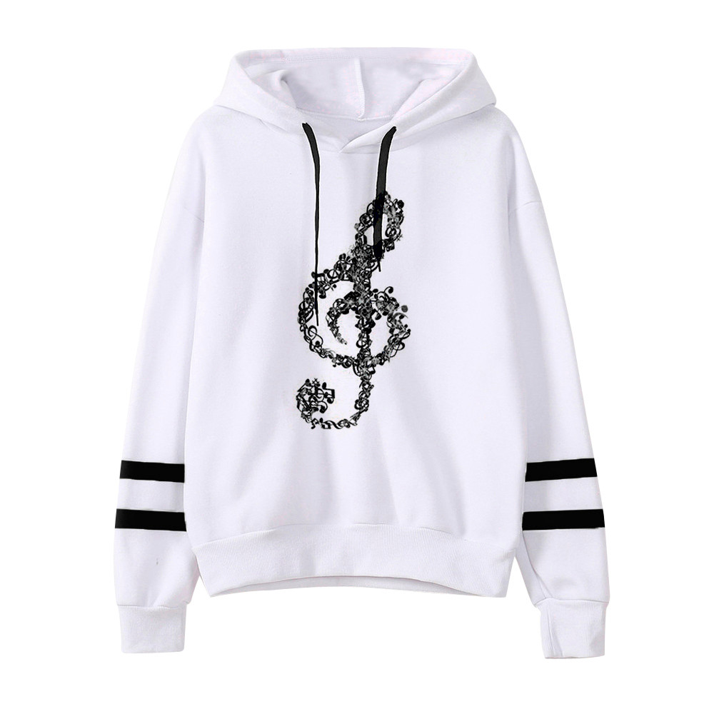 JAYCOSIN Fashion Women Casual Simple Musical Notes Hooded Sweatshirt Long Sleeve Comfortable Sweet Soft Pullover Tops Blouse