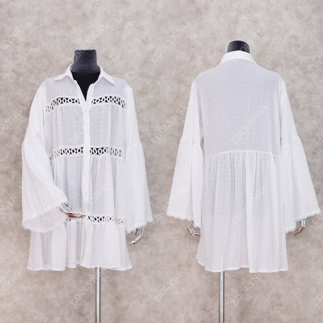 2021 Sexy White Dress Beach Tunic White Casual Simplicity Turn Down Collar Long Sleeve Hollow Out Cotton Summer Mini dress N1048 3