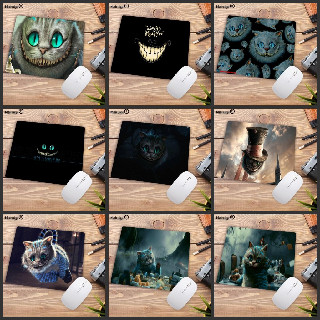 Mairuige Big Promotion Alice In Wonderland Cat Face Gamer Play Mats Rubber Mouse Pad Small Size For  18x22cm Gaming Mousepads