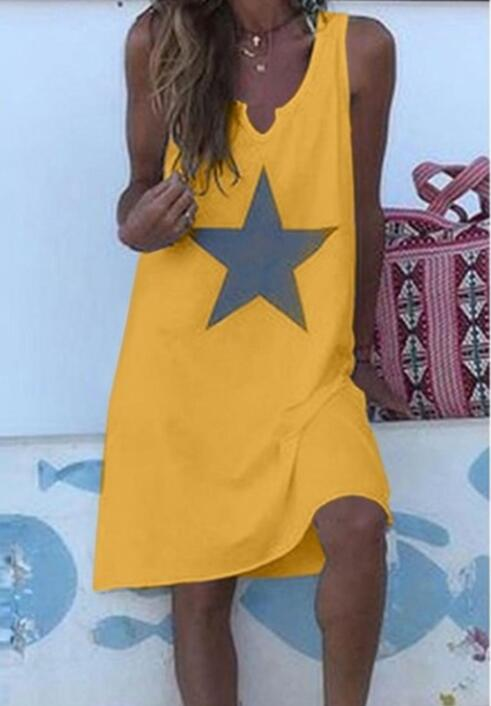 Women 2021 Loose Vintage Star Print Cotton Dress Large Big Summer  Party Beach Dresses Plus Sizes 16