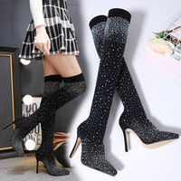 Vicamelia Women Over Knee Sock Boots 2019 Winter Sexy High Boots 35 40 High Heel Pointed Toe Rhinestone Crystal Boots Black 455