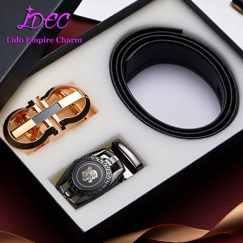Automatic Buckle Gift Box Belt Full Grain Leather Belt For Men Fashion Style Two Buckle Belt Set