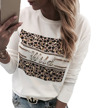 Leopard Letter Print Sweatshirt Women Casual Beading Pullover Casual Round Neck Sweatshirt Spring Streetwear bluza damska D30 2019 cold shoulder colorful printing harajuku sweatshirt women autumn loose casual streetwear bluza damska ez