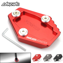 Motorcycle Side Stand Enlarger Kickstand Enlarge Plate Pad CNC Aluminum Accessories for Ducati Monster 795 796 821 1200 1200S