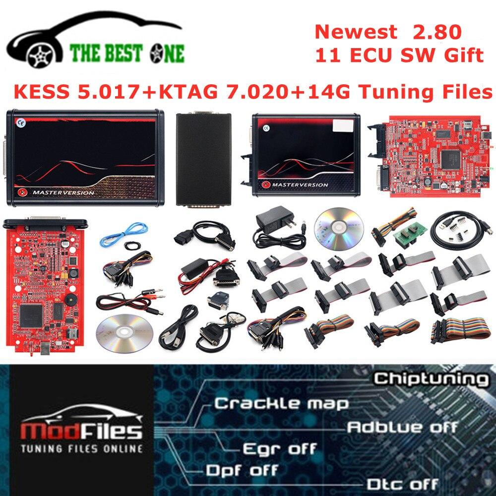 Онлайн Kess V5.017 OBD2 менеджер Тюнинг Комплект 2,80 KTAG V7.020 4 светодиодный 2,25 рамка фонового режима отладки 14G Тюнинг переназначить файл K-TAG программ...