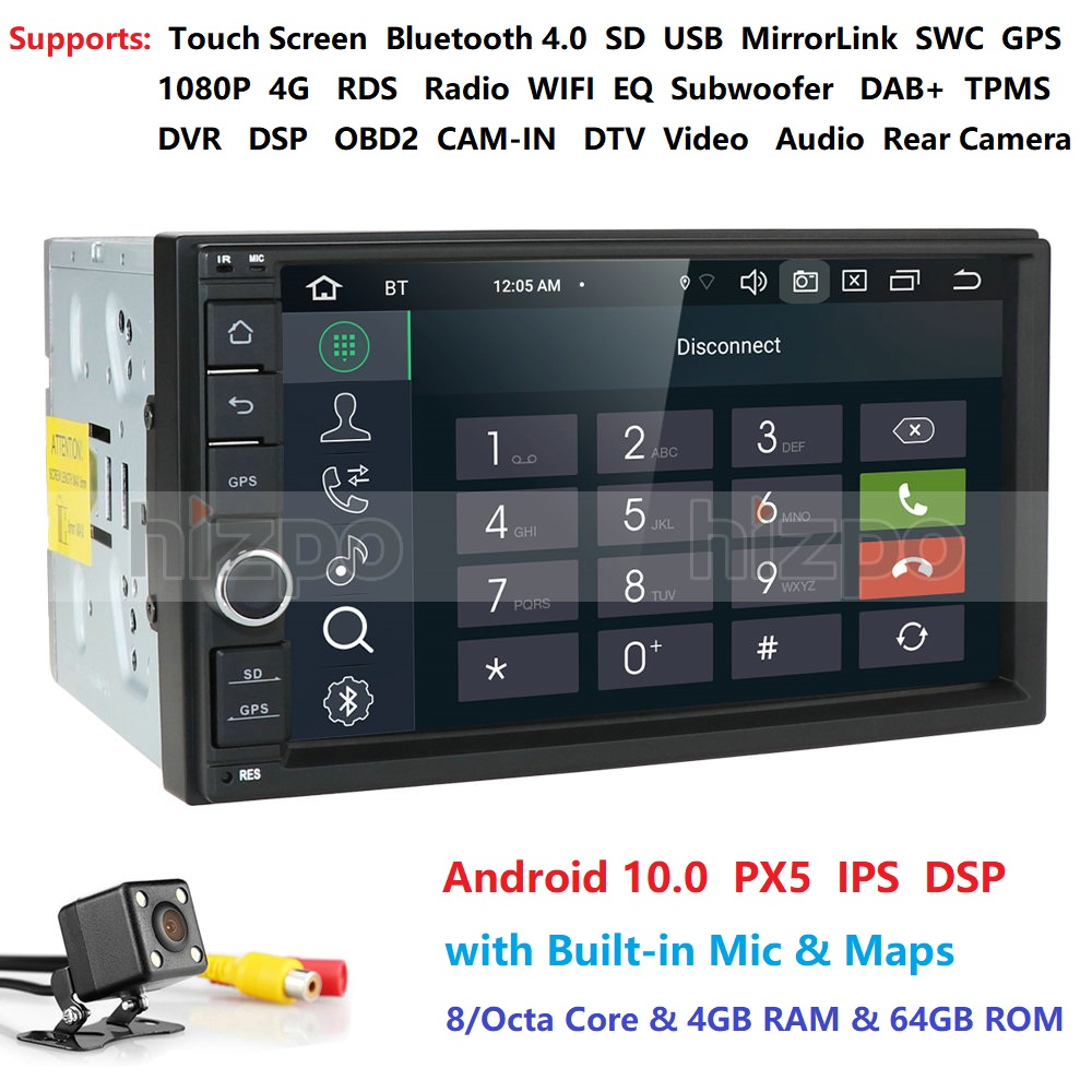 2 Din 7''Octa core Universal Android 10.0 4GB RAM Car Radio Stereo GPS Navigation WiFi 1024*600 Touch Screen 2din Car PC DAB SWC image