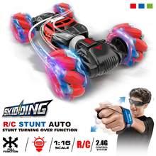 Novo 4wd rc dublê carro relógio, gesto, controle, deformável, elétrico rc, transformador, carro, brinquedo para criança com luz de led