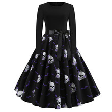 halloween printed fall 2019 black mama a-line christmas pumpkin dress plus size vintage print party