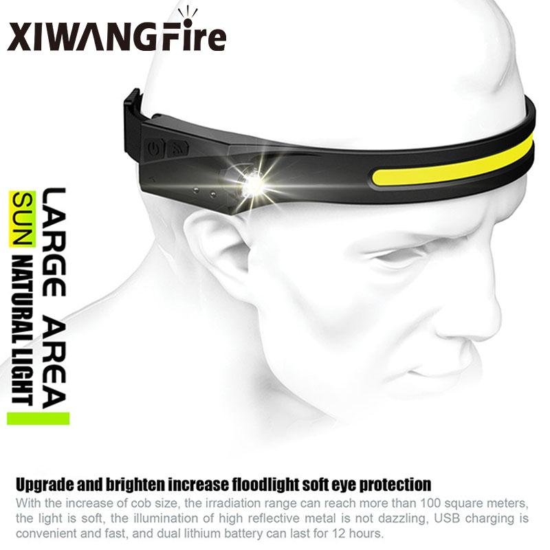 COB LED Headlamp Sensor Headlight with Built in Battery Flashlight USB Rechargeable Head Lamp Torch 5 Lighting Modes Work Light