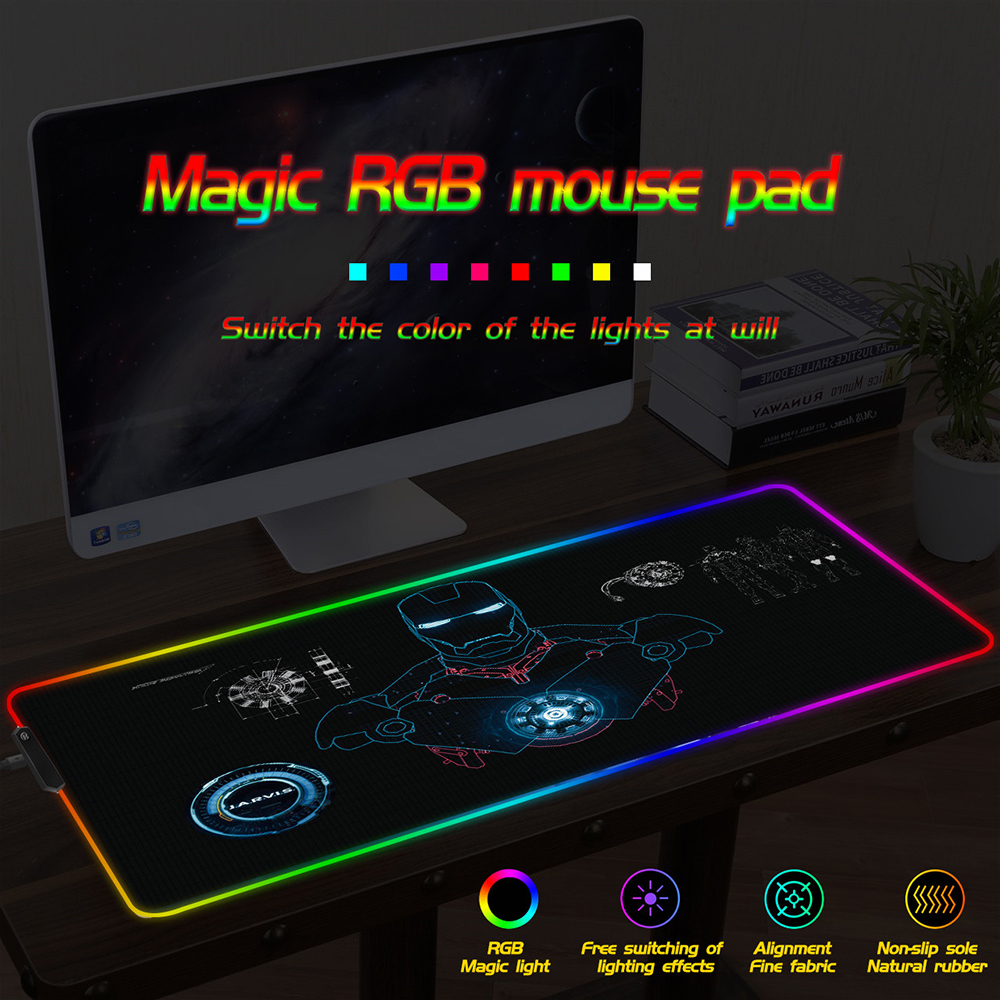 FFFAS Iron Man RGB Mouse Pad Colorful Lock Decorate Your Computer Desk Large Overlay Keyboard And Mouse HD Printing Thickening