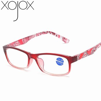 XojoX Fashion Anti-blue Reading Glasses Ultra-light Resin Lens PC Frame Retro Printing Farsighted Mirror Eyewear image