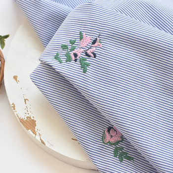 Fabric yarn-dyed striped three-dimensional embroidered fabric dress skirt children's clothing handmade dress shirt DIY vertical striped flower embroidered frill shirt