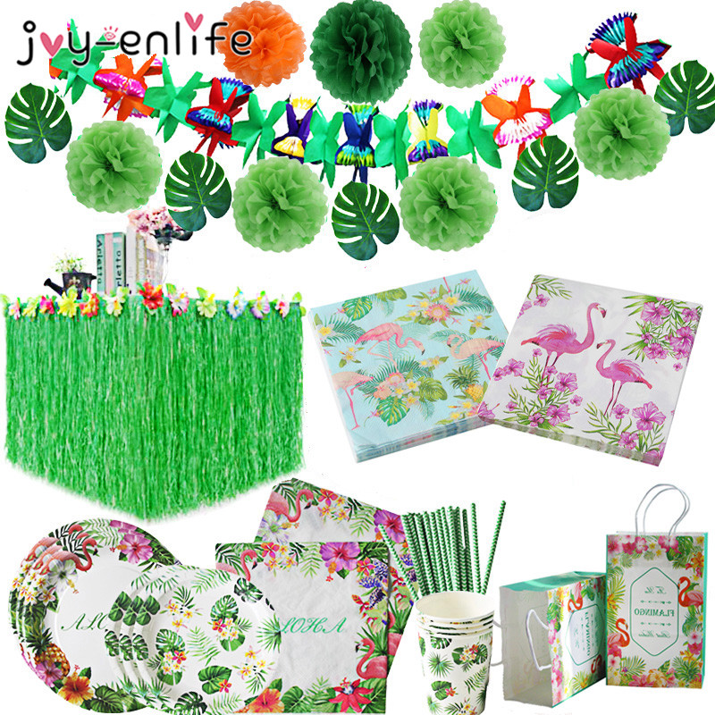 Flamingo Napkin Paper Hawaiian Party Decoration Palm Leaves Bunting Banner Aloha Tableware Tropical Party Wedding Decoration