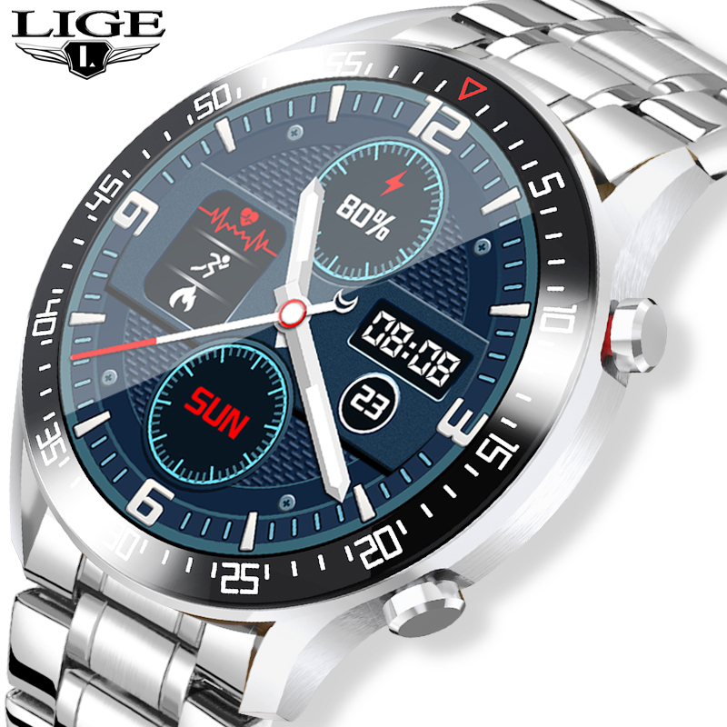 LIGE 2020 New Steel Band Smart Watch Men For Android IOS Phone Heart Rate IP68 Waterproof Full Touch Screen Luxury Smartwatch|Smart Watches| - AliExpress
