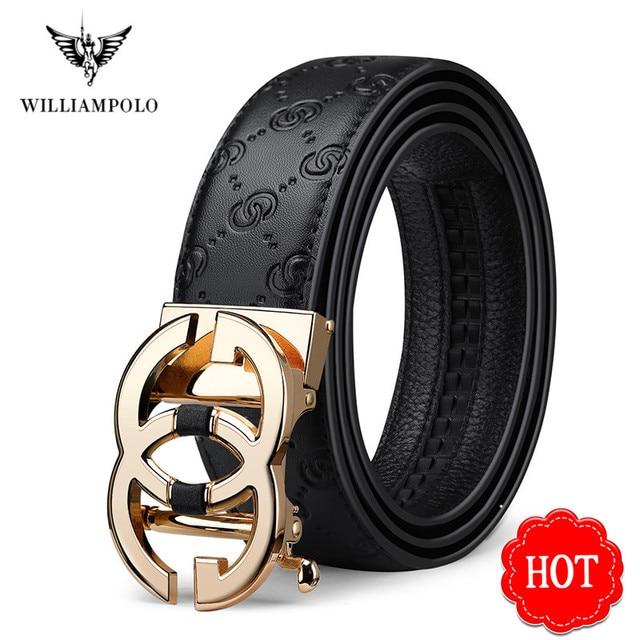 WilliamPolo ceinture en cuir véritable pour homme, marque de luxe, ceinture de qualité haut de marque, sangle en métal, boucle automatique