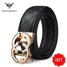 Williampolo cinto de couro genuíno dos homens de luxo marca designer de alta qualidade cintos para homens cinta masculino metal fivela automática