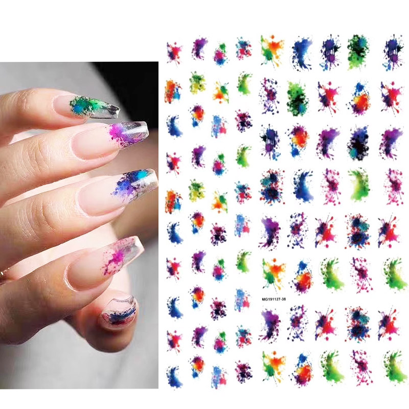 New Arrived 3D Nail Stickers Decals Colorful Water Drop Style  Adhesive Stickers Nail Art Decoration Z0266