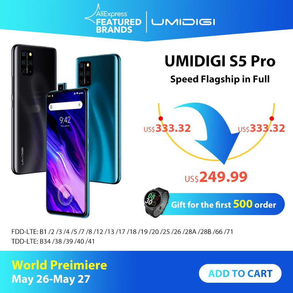 UMIDIGI S5 Pro Helio G90T Gaming Processor 6GB 256GB Smartphone FHD+ AMOLED  In-screen Fingerprint Pop-up Selfie Camera 4680mAh