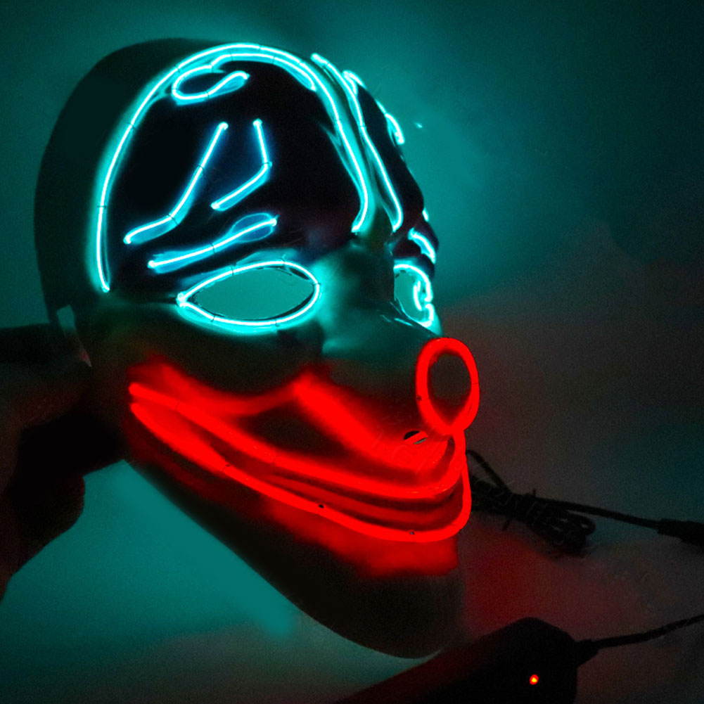 Halloween Mask LED Light Up Scary Clown Wire Mask For Festival Party Cosplay Costume Masquerade NSV775