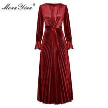 MoaaYina Pista di Modo del vestito di Autunno Vestito delle Donne Del Manicotto Del Chiarore Solido di Alta Vita Pieghettato Cinghia In Rilievo Abiti di Velluto