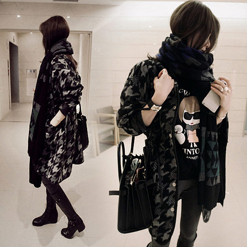 New Chic Korean Woolen Coat Female Houndstooth Long Retro Lattice Blend Jacket Winter Fashion Flannel Loose Casual Outwear f1555 - 3