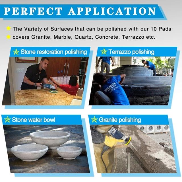 4 Inch Diamond Polishing Pads Set Wet/Dry Polishing Kit for Granite Stone Concrete Marble Floor Grinder or Polisher (12 Pack)