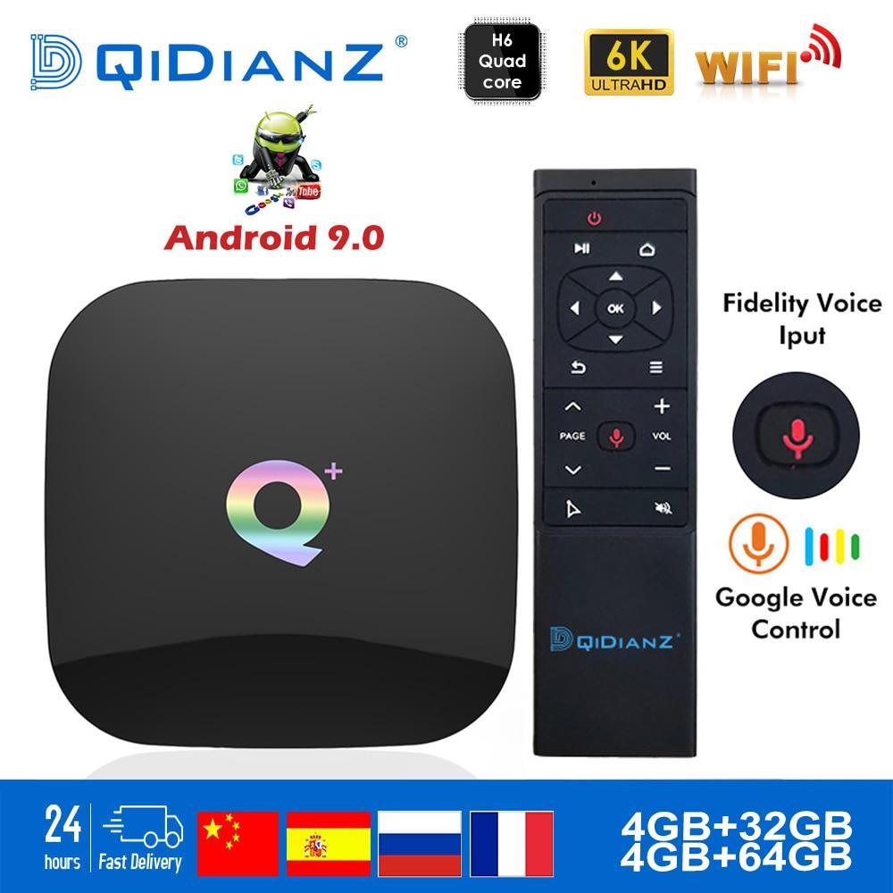 Q Plus Smart TV BOX Android 9.0 H6 Quadcore Cortex-A53 4G + 32G 2.4G WIFI 6 K H.265 USB 3.0 neftfairy Google décodeur