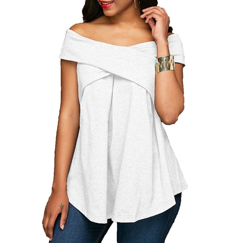 New 2020 Fashion Women Blouse Sleeveless Slash Neck Soild Shirt Strapless Off Shoulder Feminine Blouses Ladies Tops