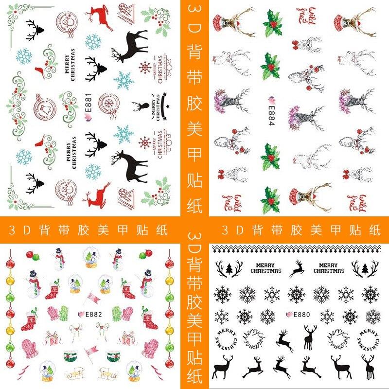 E897-918 Series 3D Suspender Strap Glue Nail Sticker Penguin Snowflake Nail Sticker Pigskin Year New Year Manicure Stickers