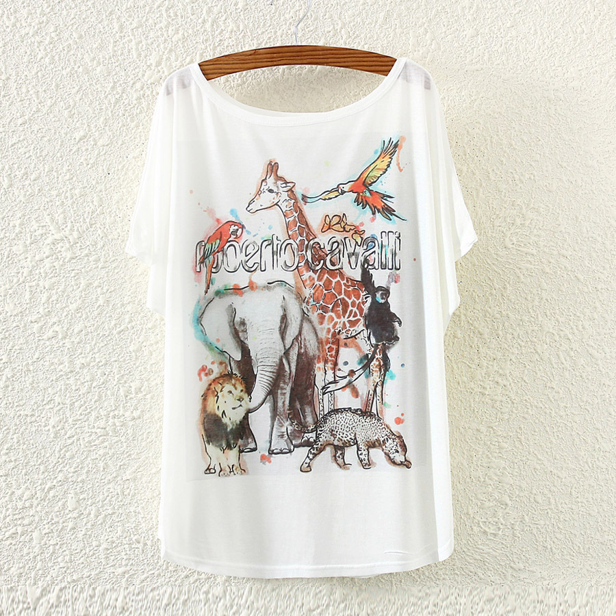 Summer New Style Zoo Europe And America Printed Large Size Bat Sleeve Short Sleeve Loose-Fit WOMEN'S T-shirt image