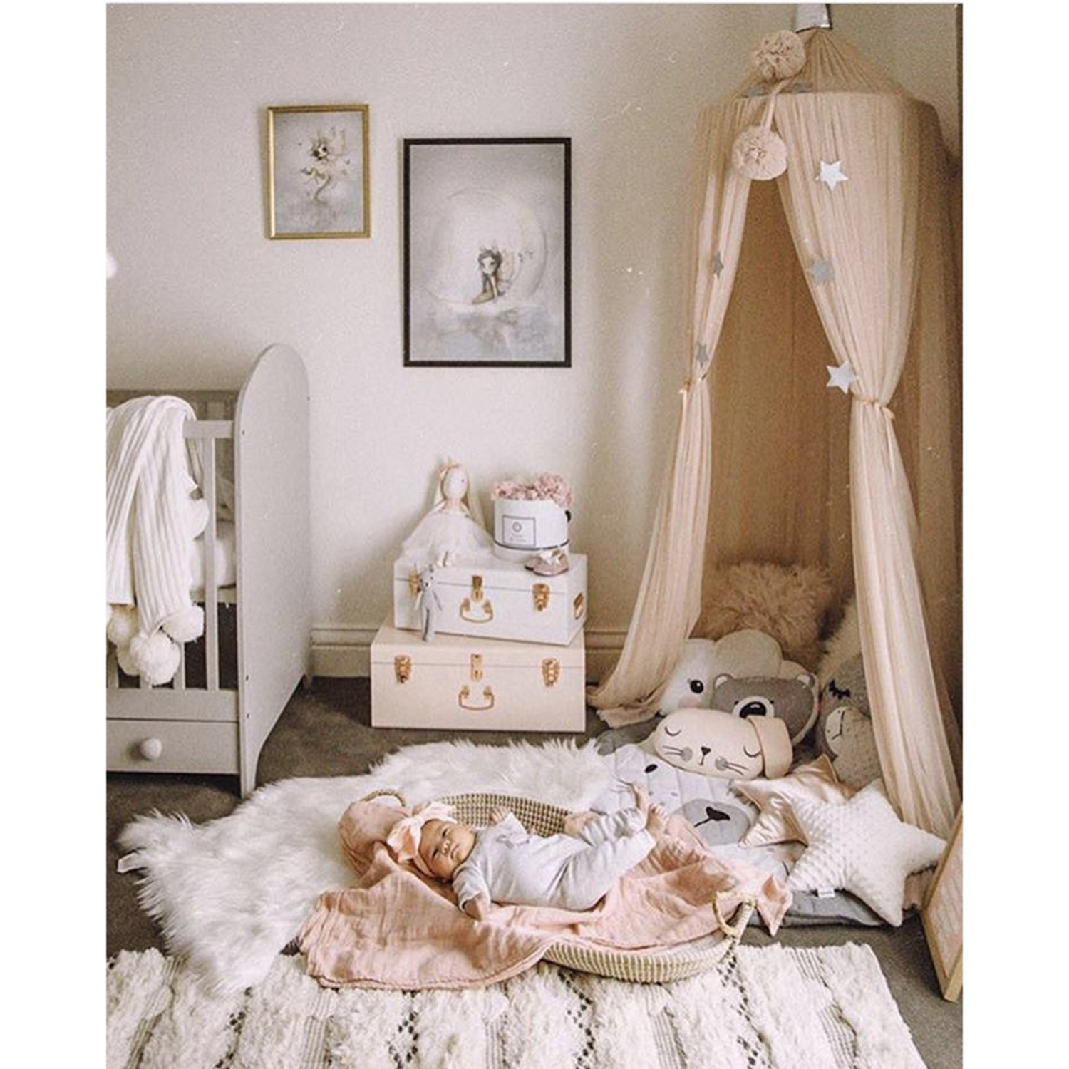 7 Colors Hanging Kids Baby Bedding Dome Bed Canopy Cotton Mosquito Net Bedcover Curtain Baby Kids Reading Playing Home Decor D30