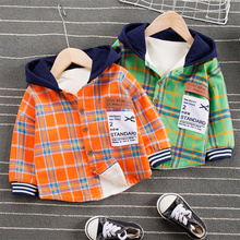 2021 Kid's Shirt, Autumn Warm Long Sleeve Plaid Hooded Top for Birthday Party Photography Vacation