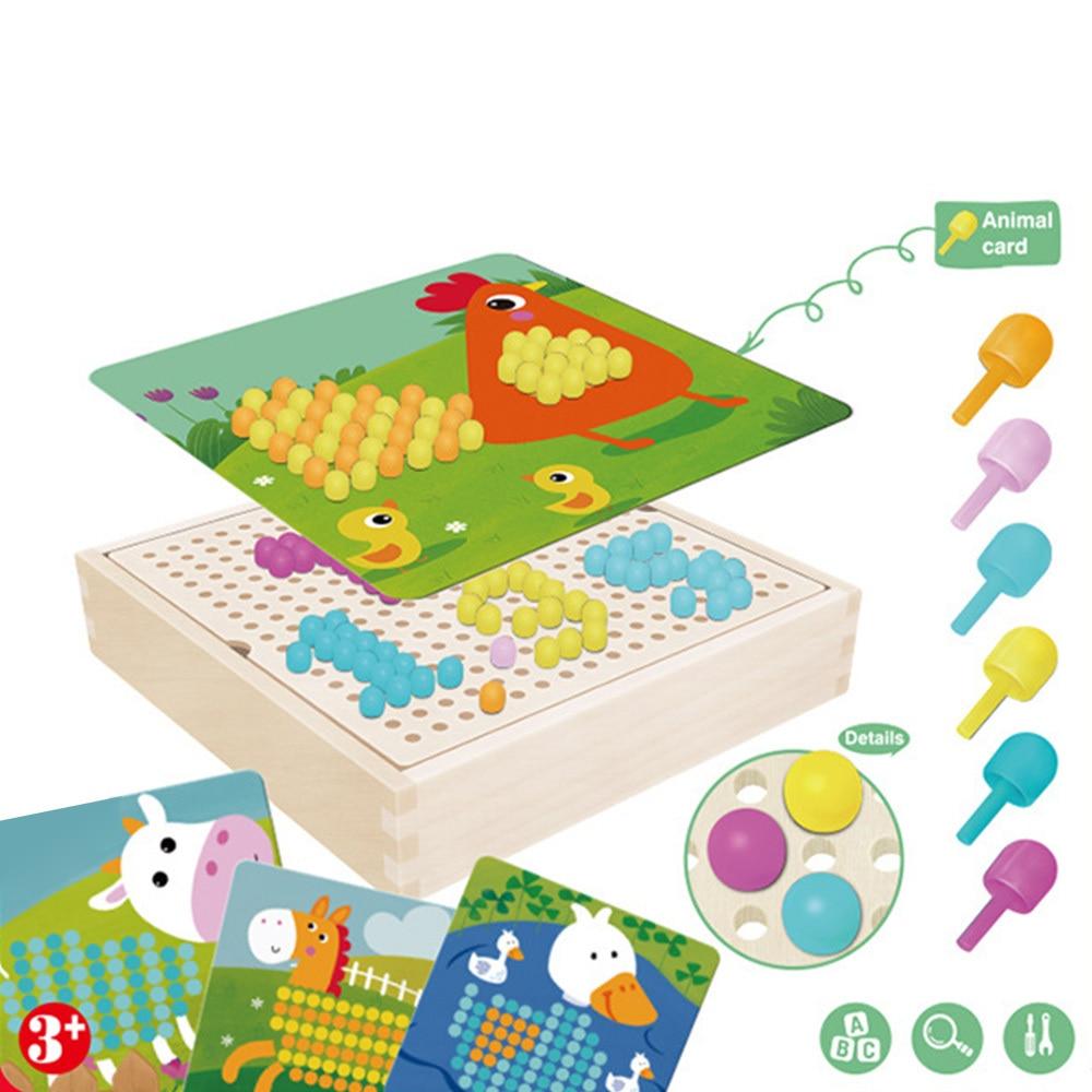 3D Mushroom Nail Intelligent Puzzle Games Mosaic Peg Board Jigsaw Puzzle Kids DIY Educational Toys