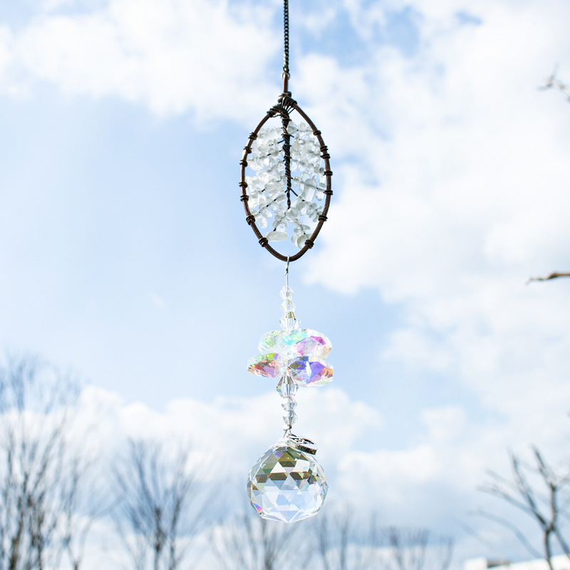 H&D Crystal Ball Prism Suncatcher Leaf Shaped Healing Crystals Ornament Rainbow Maker Collection For Home Window Car Decor Gift