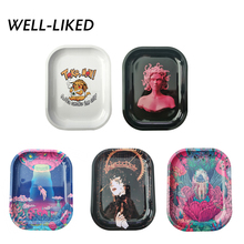 2020 New Cartoon Pattern Tray 180*140mm Metal Tinplate Cigarette Rolling Trays Smoking Trays