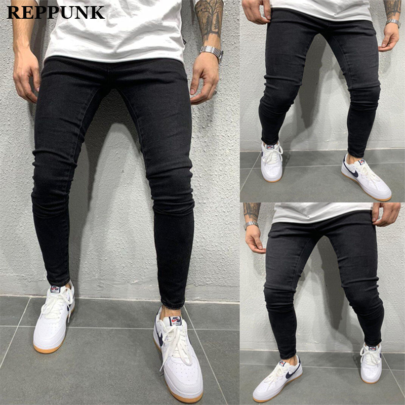 REPPUNK 2020 Men's Slim Jeans Pants Casual Men Washed Denim Pants Mens Skinny Distressed Jeans Black Plus Size 3XL Trousers