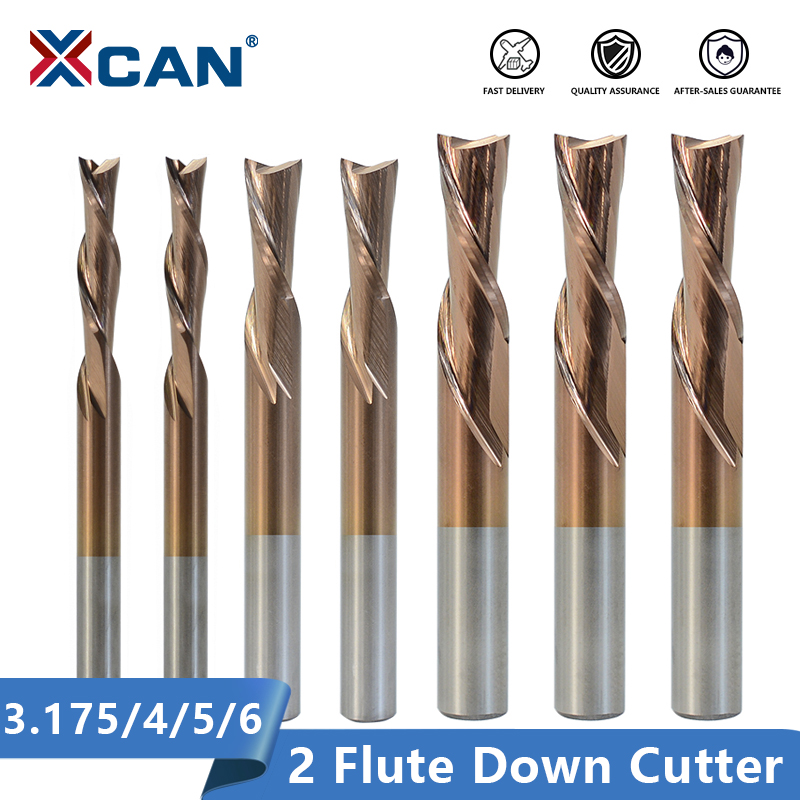 XCAN 2 Flute Cutter 3.175 4 5 6mm Shank Left Hand Down Cutter Carbide Spiral End Mill For Cutting Aluminum CNC Router Bit