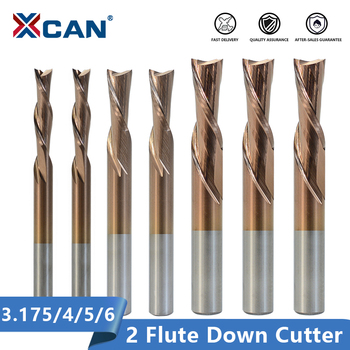 XCAN 2 Flute Cutter 3.175 4 5 6mm Shank Left Hand Down Carbide Spiral End Mill For Cutting Aluminum CNC Router Bit - discount item  50% OFF Machinery & Accessories