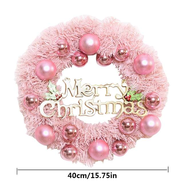 30/40cm Christmas Decoration Pink Christmas Wreath Rattan Ring Shopping Mall Window Scene Ornaments Artificial Christmas Wreath 25
