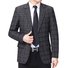 Male Blazers Jackets Costume Men Suit Business Plaid Handsome Casual Single-Breasted