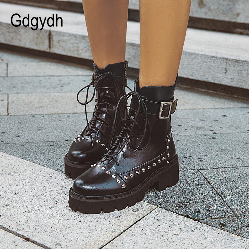 Gdgydh Sexy Rivet Military Boots Women Lace Up Black Leather Ankle Boots Mid Heel Goth Style Short Boots for Autumn High Quality 3