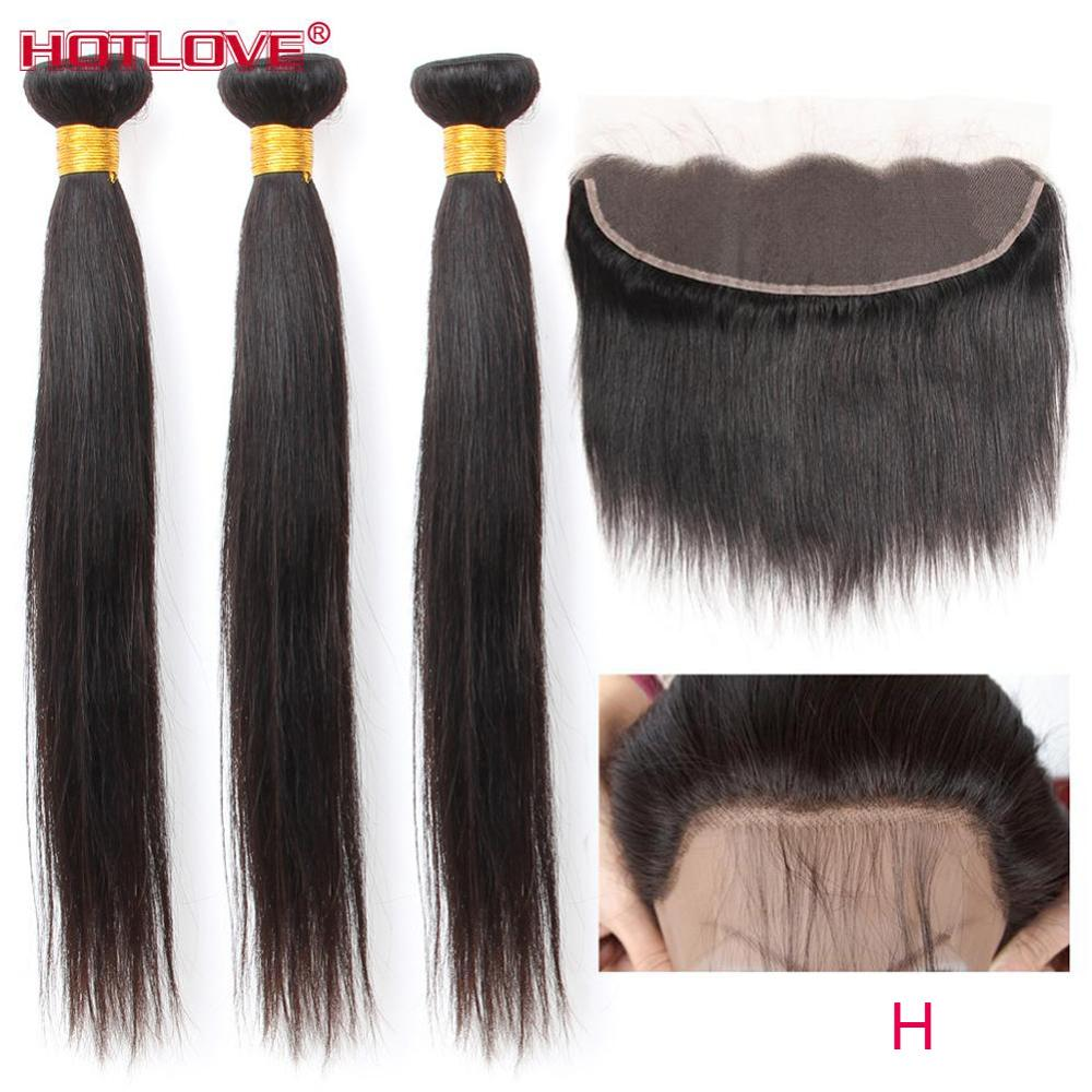 Brazilian Straight Hair 3 Bundles With Frontal Closure Pre Plucked Remy 100% Human Hair Weave Bundles With Frontal Closure