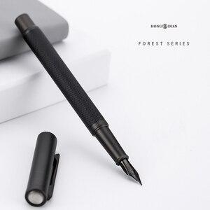 Image 2 - Novo clássico de luxo 0.5mm preto f nib caneta caneta cheia metal clipe canetas para assinatura negócios escrita material escritório da escola